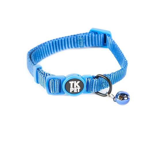 Collar para gatos TK-Pet Classic Nylon azul con cascabel