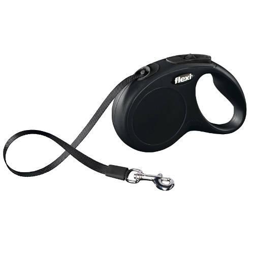 Flexi New Classic Compact correa extensible de cinta para perros Color Negro